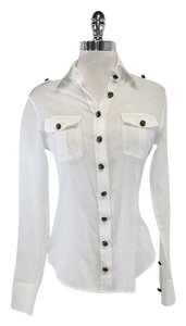 Burberry White Sheer Cotton Button Up Top