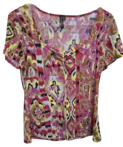 Susan Lawrence Medium Short Sleeve Tribal Polyester Easy Care Figure Flattering Red Maroon Brown Grey Yellow Black M Tunic