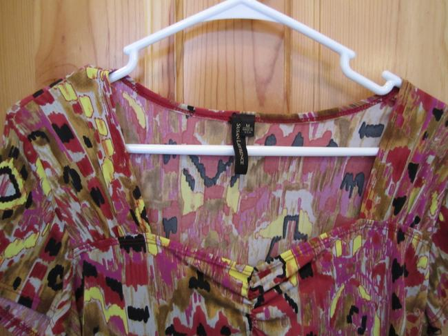Susan Lawrence Medium Short Sleeve Tribal Polyester Easy Care Figure Flattering Red Maroon Brown Grey Yellow Black Purple M Tunic