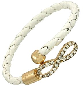 Infinity Charm White Leather Rhinestone Crystal Accent Infinity Bracelet