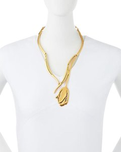 Oscar de la Renta OSCAR DE LA RENTA Designer Gold-toned Golden Tulip Necklace NEW