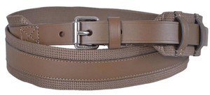 Gucci New Gucci Men's $340 341744 Khaki Fabric Leather Logo Buckle Belt 42 105