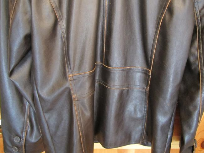 Dollhouse Distressed Faux Blazer Medium Brown Leather Jacket