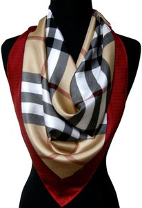 Burberry NEW Authentic Womens Burberry Prorsum Classic Check Beige Red Border Silk Scarf Large