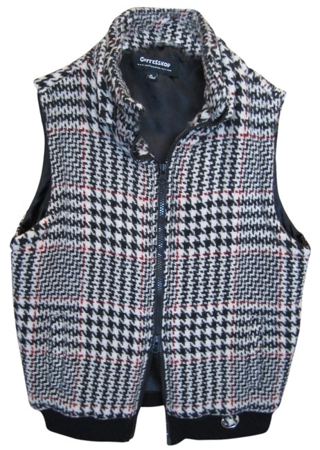 Preload https://item4.tradesy.com/images/coffee-shop-plaid-medium-winter-black-ivory-burgundy-knit-waist-zip-up-down-nyc-vest-size-8-m-1767558-0-0.jpg?width=400&height=650