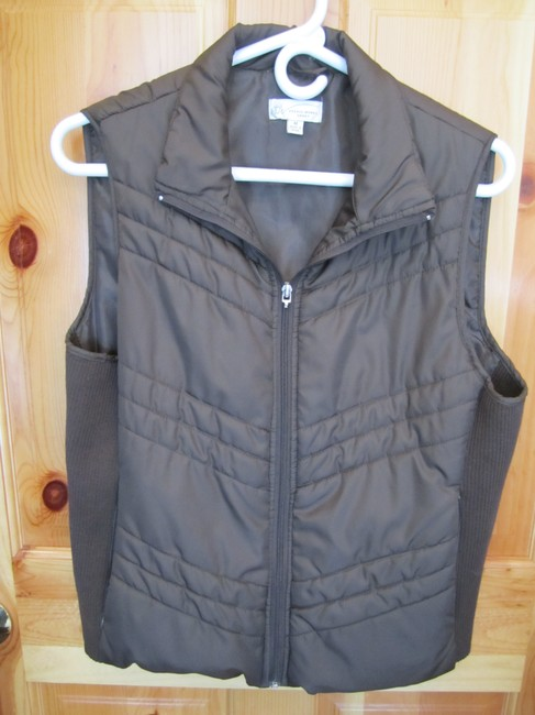 Studio Works Medium Sport Zip Pockets Rib Knit Winter Warm Vest