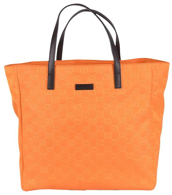 Item - New 282439 Tangerine Yellow Gg ssima Medium Purse Shopper Orange Nylon Tote