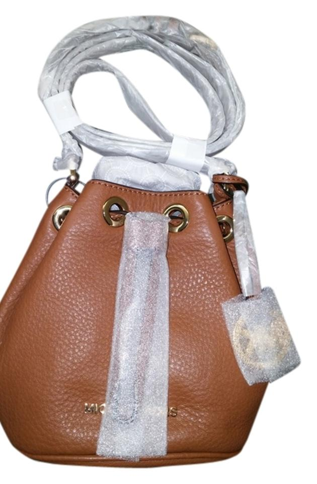 a446607352c6 Michael Kors Jules Mini Bucket Drawstring Brown Tan Leahter Cross ...