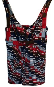 BCBG Max Azria Top Red, Blue, Brown & Black