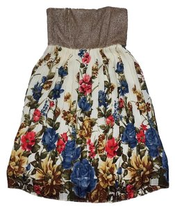 Alice + Olivia short dress Gold Pleated Floral Strapless on Tradesy