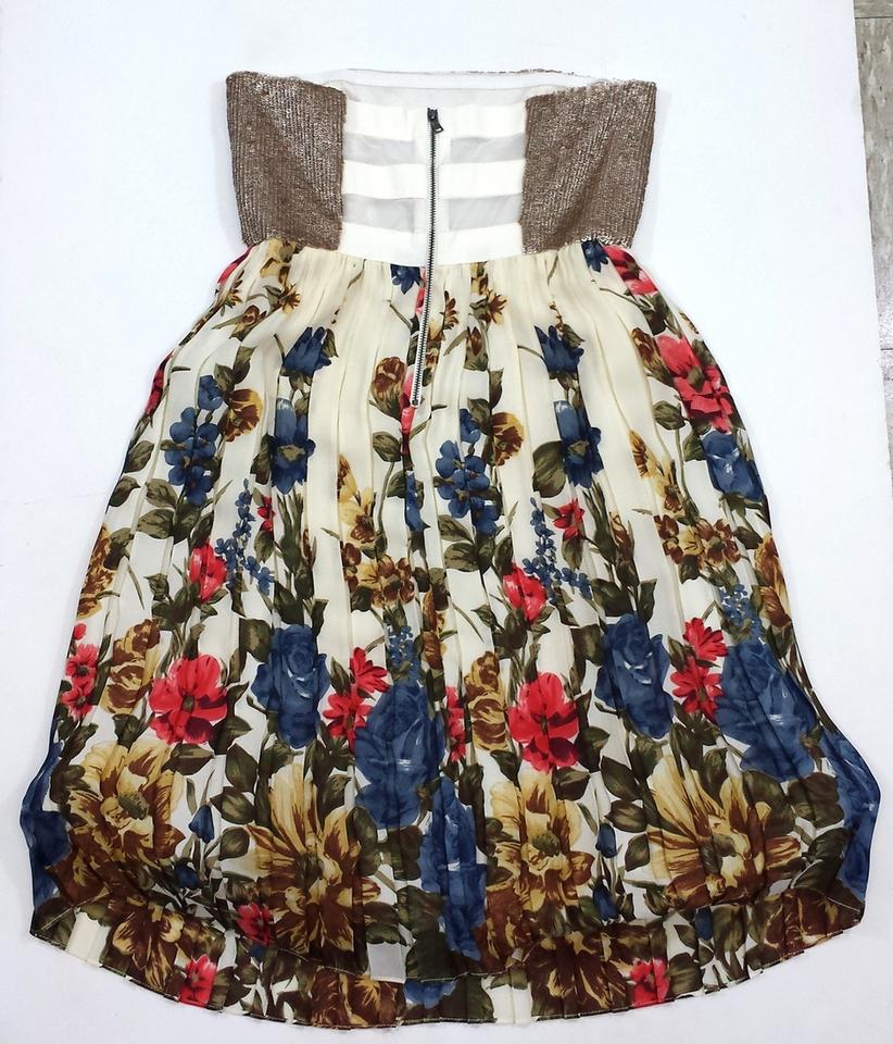 ce3fc5e75b Alice + Olivia short dress Gold Pleated Floral Strapless on Tradesy Image  1. 12