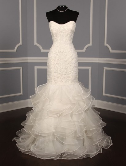 Ines Di Santo Light Ivory Silk Organza with Embroidery Santina Formal Wedding Dress Size 8 (M) Image 1
