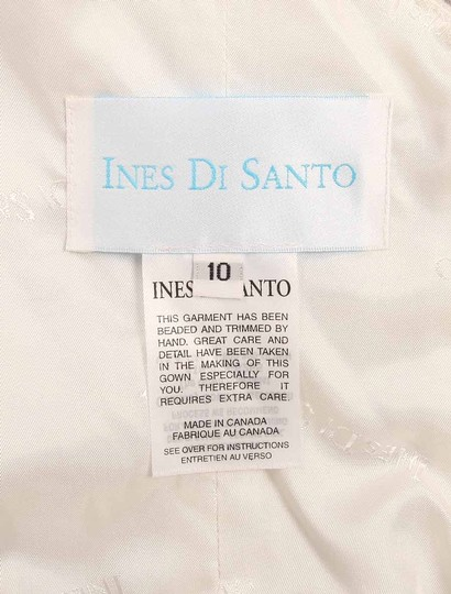 Ines Di Santo Light Ivory Silk Organza with Embroidery Santina Formal Wedding Dress Size 8 (M) Image 11