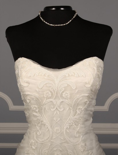 Ines Di Santo Light Ivory Silk Organza with Embroidery Santina Formal Wedding Dress Size 8 (M) Image 2
