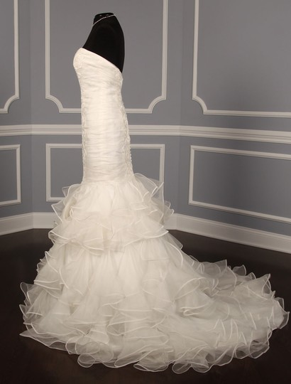 Ines Di Santo Light Ivory Silk Organza with Embroidery Santina Formal Wedding Dress Size 8 (M) Image 4