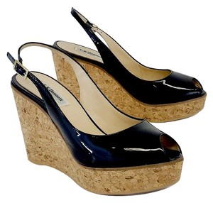L.K. Bennett Black Patent Leather Cork Wedges