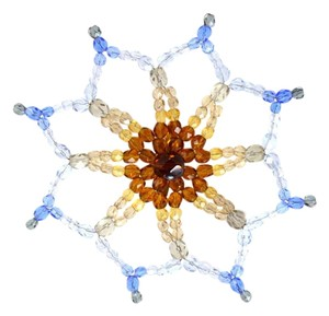 Chanel Chanel Blue & Amber Beaded Flower Pin
