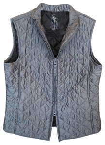 Relativity Medium Charcole Pewter Mettalic Light Weight Puffer Winter Zip Pockets Stand Up Or Fold Down Collar Vest