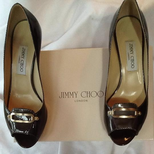Jimmy Choo Pearlized Patent Grey Pumps