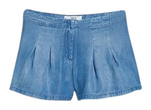 Mango Pleated Soft Denim Flowy Mini/Short Shorts Medium Denim