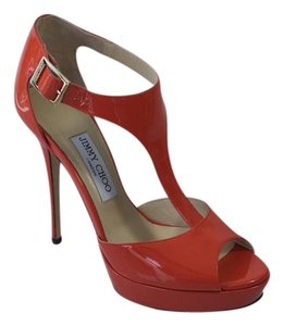 Jimmy Choo Patent Leather Gold Hardware Ankle Strap Peep Toe Totem Red, Orange Sandals