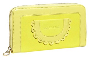 See by Chlo See By Chloe Women's Yellow Zip Around Wallet scallop lemon