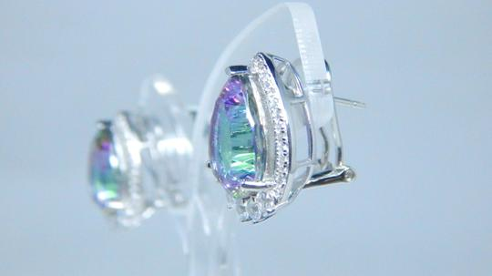 Mystic Sterling Silver. Appealing Mystic quartz French back Design in Halo Earring Setting Image 2
