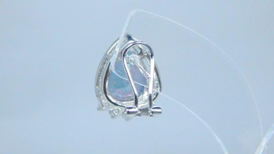 Mystic Sterling Silver. Appealing Mystic quartz French back Design in Halo Earring Setting Image 3