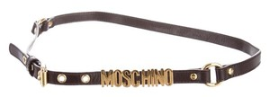 Moschino Brown leather Moschino gold tone logo letters waist belt