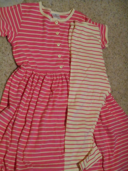 Hanna Andersson short dress Pink and Butter Yellow Day Play Leggings Two Pieces Striped Cotton Set Lot Girls 12 Xxs Xs Small Ladies Small Petite 160 Euro 160 Play on Tradesy