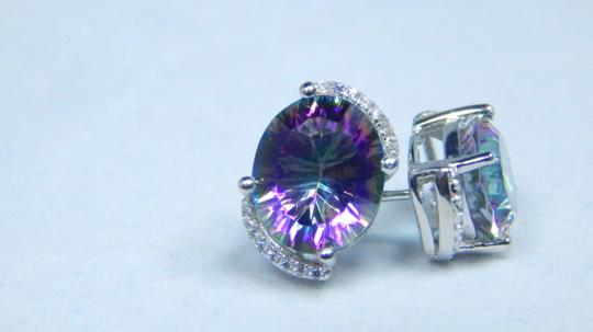 Mystic Sterling Silver. Attractive Oval shape Mystic quartz Earrings Push Back Design in Halo Setting Image 1