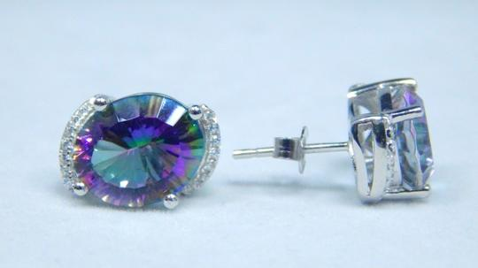Mystic Sterling Silver. Attractive Oval shape Mystic quartz Earrings Push Back Design in Halo Setting Image 3