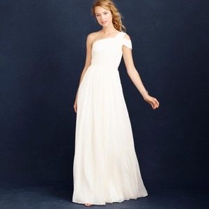J.Crew Ivory Silk Chiffon Cara Casual Wedding Dress Size 10 (M)