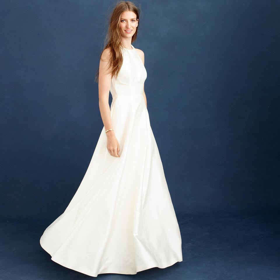 Famous J.Crew Ivory Silk/Cotton Estella Modern Wedding Dress Size 4 (S  EE61