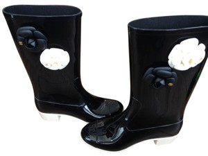 Chanel Rain Black Gold black, white Boots