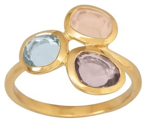 14 Karat Gold Plated Ring with Abstract Stone Design
