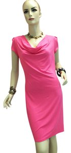 Three Dots short dress Pink Style Em5053 Short Sleeve Stretch Cowl Neck on Tradesy