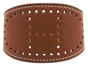 Herms Hermes Perforated H Brown Leather Bracelet, Size S (90843)