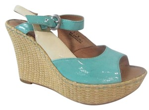 Børn Mina Platform Platent Leather Blue Wedges