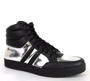 Gucci Black/Silver 1086 Men's Contrast Padded Leather High-top Sneaker 7.5g/Us 8 368494 Shoes