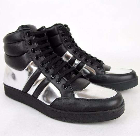 Gucci Black/Silver 1086 Men's Contrast Padded Leather High-top Sneaker 7.5g/Us 8 368494 Shoes Image 4