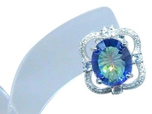 Mystic Sterling Silver.Enticing Oval shape Mystic blue quartz Earrings in a French Back design in Halo Setting