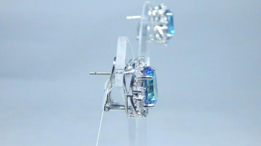 Mystic Sterling Silver.Enticing Oval shape Mystic blue quartz Earrings in a French Back design in Halo Setting Image 1