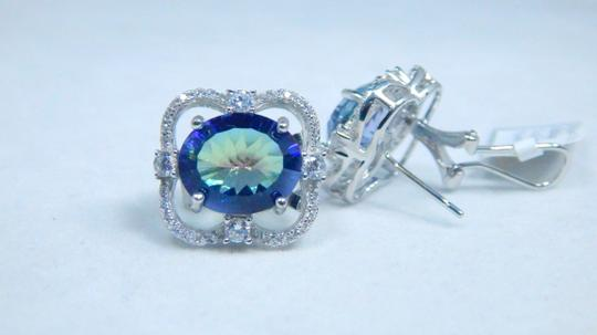 Mystic Sterling Silver.Enticing Oval shape Mystic blue quartz Earrings in a French Back design in Halo Setting Image 2