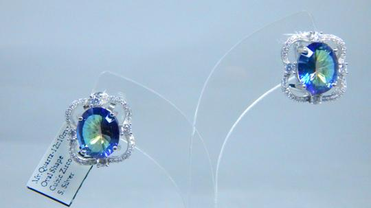 Mystic Sterling Silver.Enticing Oval shape Mystic blue quartz Earrings in a French Back design in Halo Setting Image 3