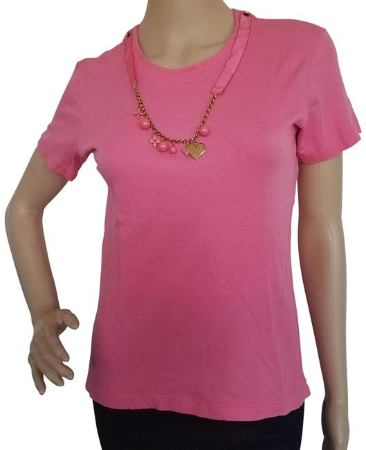 Preload https://img-static.tradesy.com/item/17678770/louis-vuitton-pink-gold-light-lv-monogram-charms-short-sleeve-tee-shirt-size-8-m-0-3-650-650.jpg