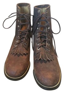 Justin Boots Leather Kiltie Vintage Boot Brown Boots