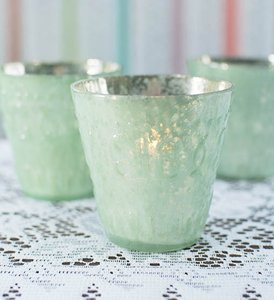 Mercury Glass Votive Candle Holder 3.25 In. Tall Mint Green
