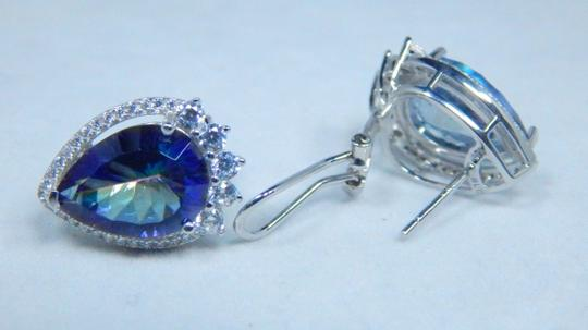Mystic Sterling Silver. Appealing Mystic quartz French back Design in Halo Earring Setting Image 1