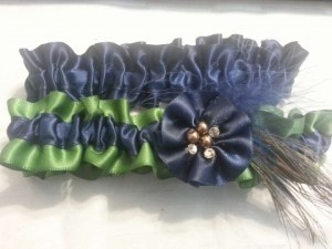 Navy Blue and Green Peacock Garter with Feather